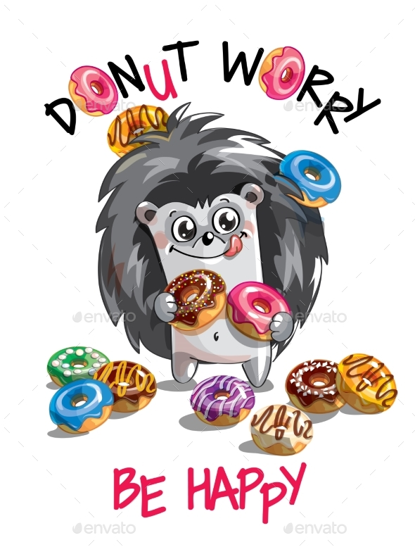 Cartoon Hedgehog with Donuts - Animals Characters
