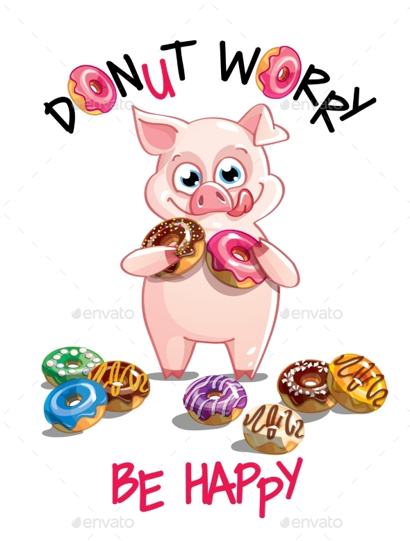 Vector Illustration of Cartoon Pig with Donuts - Animals Characters