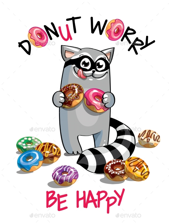 Vector Illustration of Cartoon Raccoon with Donuts - Animals Characters