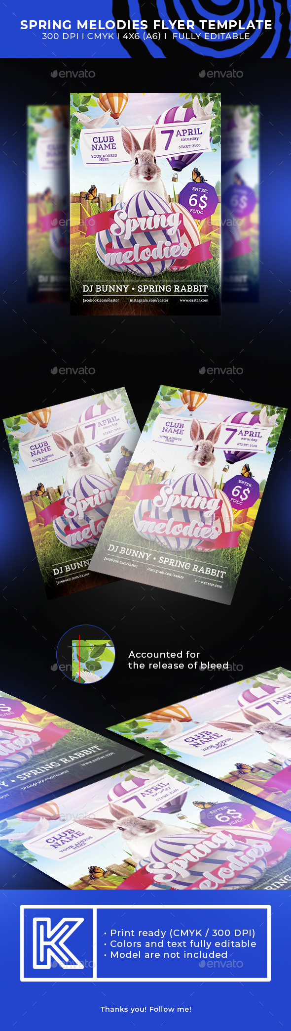 Spring melodies flyer template - Holidays Events