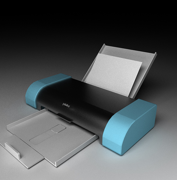 Printer Model with  materials - 3DOcean Item for Sale