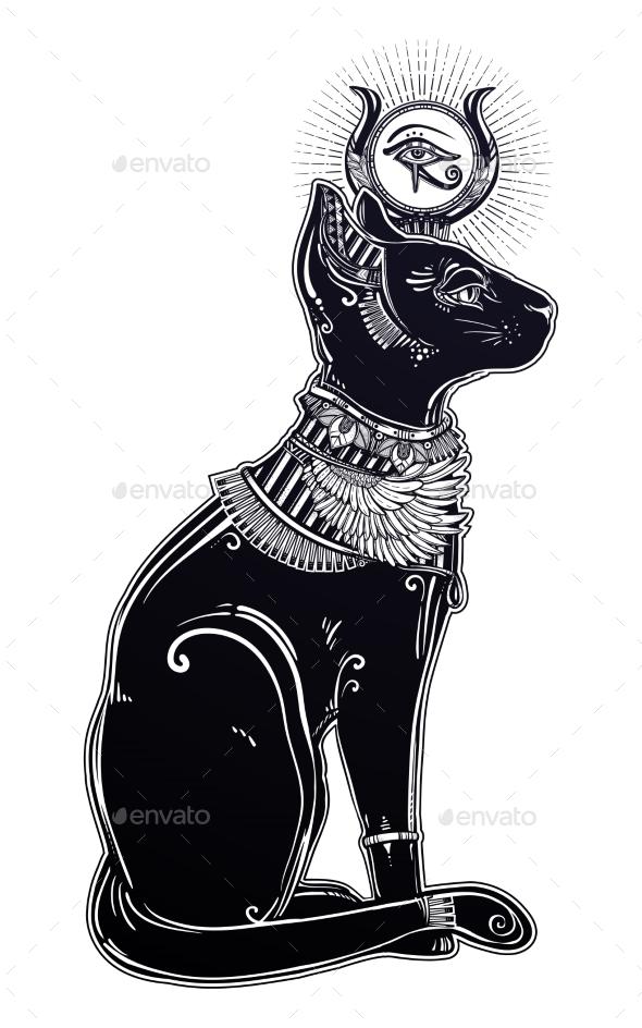 Illustration of Egyptian Cat Goddess Bastet - Religion Conceptual