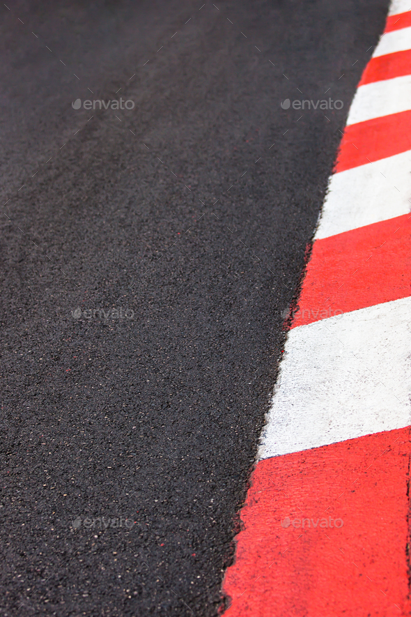 Texture of motor race asphalt and curb Grand Prix circuit - Stock Photo - Images
