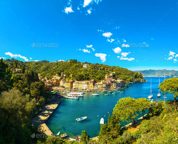 Portofino luxury village landmark, panoramic aerial view. Liguri - Stock Photo - Images