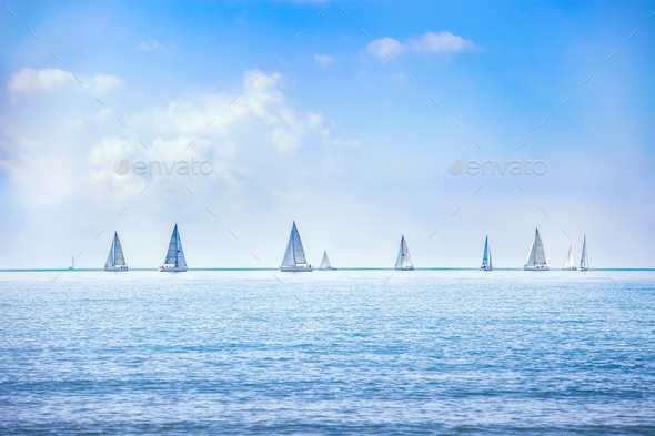 Sailing boat yacht regatta race on sea or ocean water - Stock Photo - Images