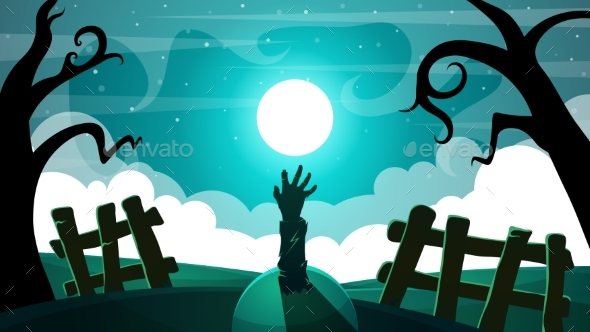 Cartoon Night Landscape Zombie Illustration - Miscellaneous Vectors