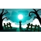 Cartoon Night Landscape Zombie Illustration - GraphicRiver Item for Sale