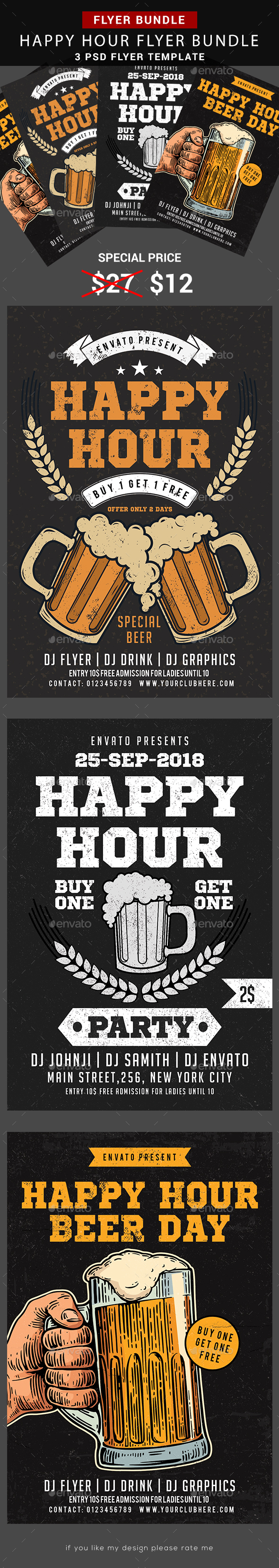 Happy Hour Beer Promotion Bundle - Events Flyers