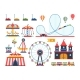 Amusement Park Attractions. Train, Ferris Wheel - GraphicRiver Item for Sale