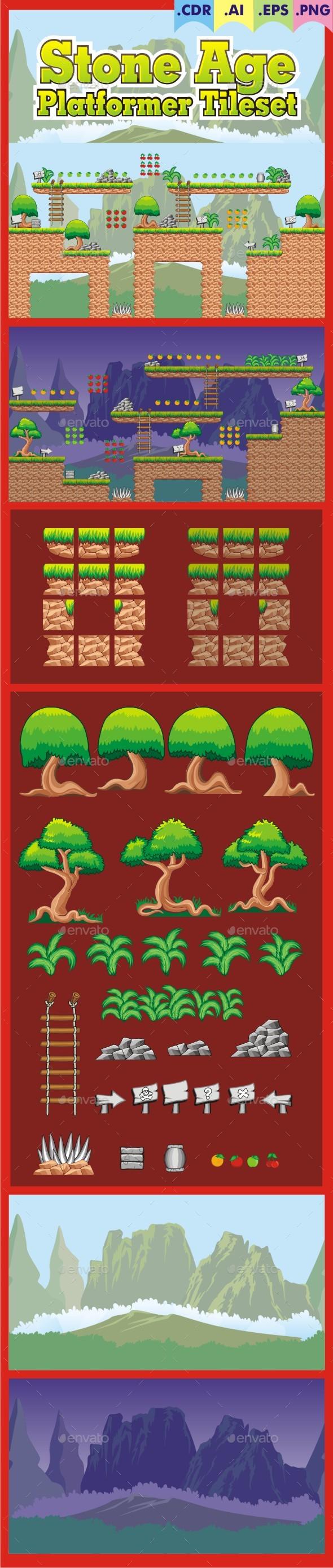 Stone Age - Platformer Tileset - Tilesets Game Assets
