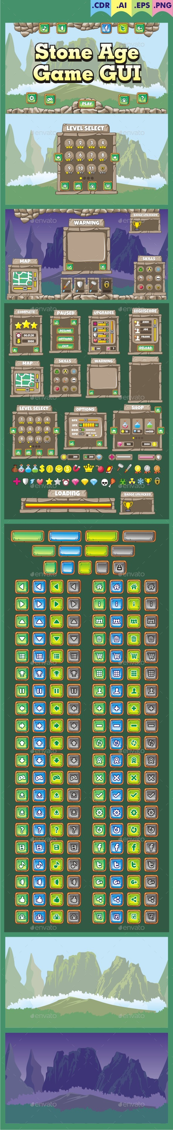 Stone Age - Game GUI - User Interfaces Game Assets