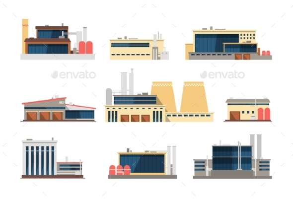 Industrial Factory, Power Plant and Warehouse - Buildings Objects