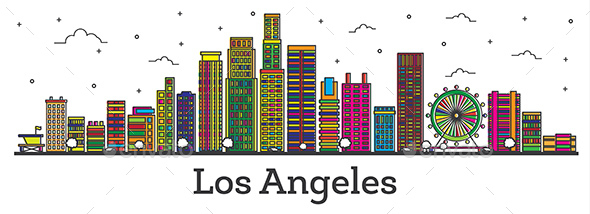 Outline Los Angeles California City Skyline with Color Buildings Isolated - Buildings Objects