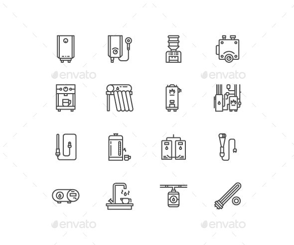 Water Heaters Line Icons - Objects Icons
