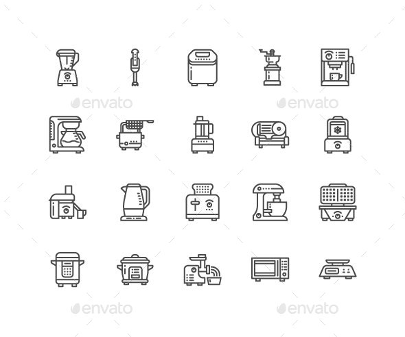 Kitchen Appliances Line Icons - Objects Icons