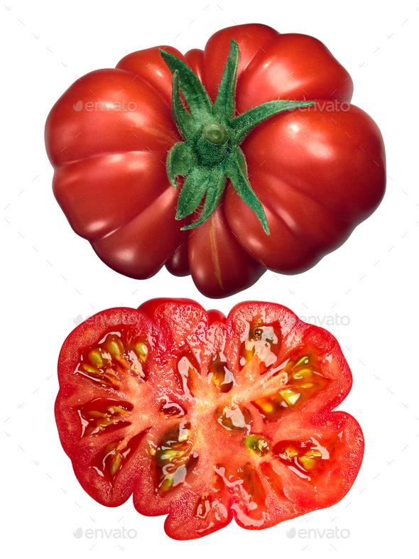 Costoluto di parma tomato whole half, top - Stock Photo - Images