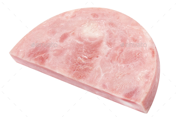 Half of marbled ham slice, paths - Stock Photo - Images