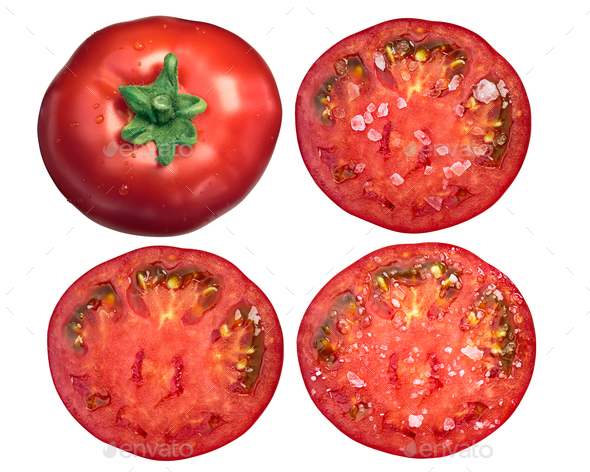 Marglobe tomatoes whole sliced salted, top, paths - Stock Photo - Images