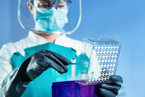 Cryonics. Scientist working with biological samples - Stock Photo - Images