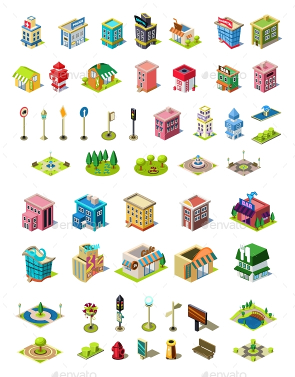 Isometric Vector Icons Set for City Constructor - Buildings Objects