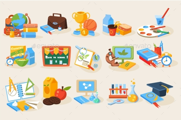 Flat Vector Set of Various School Items - Miscellaneous Vectors
