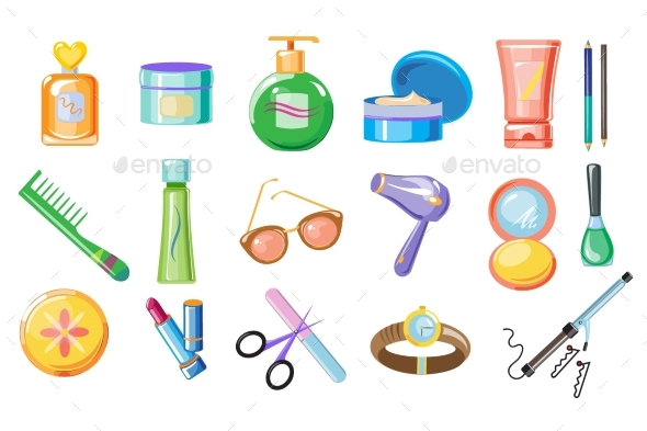 Set of Women Accessories for Skincare and Hygiene - Miscellaneous Vectors