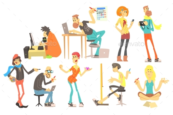 Flat Vector Set of Cartoon Creative People - People Characters