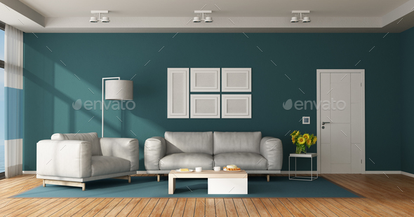Blue and white modern living room - Stock Photo - Images