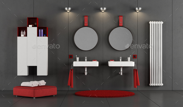 Modern bathroom with two double washbasin - Stock Photo - Images