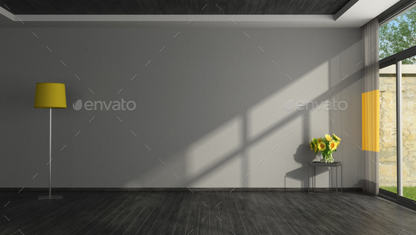 Empty black and yellow living room - Stock Photo - Images