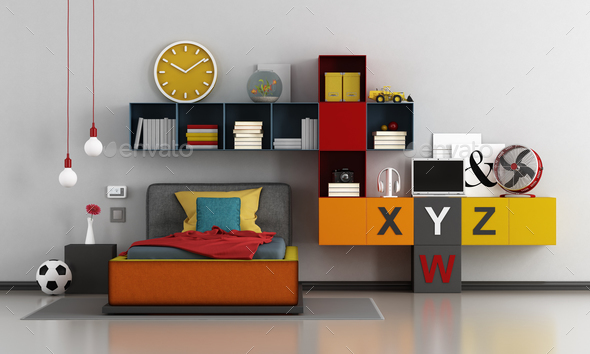 Colorful teen room - Stock Photo - Images