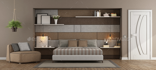 Brown and gray master bedroom - Stock Photo - Images