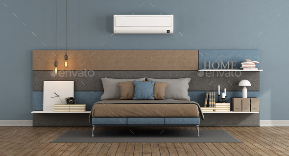 Modern master bedroom with air conditioner - Stock Photo - Images
