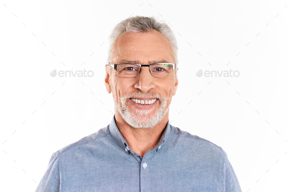 Cheerful happy man looking camera and smiling isolated - Stock Photo - Images