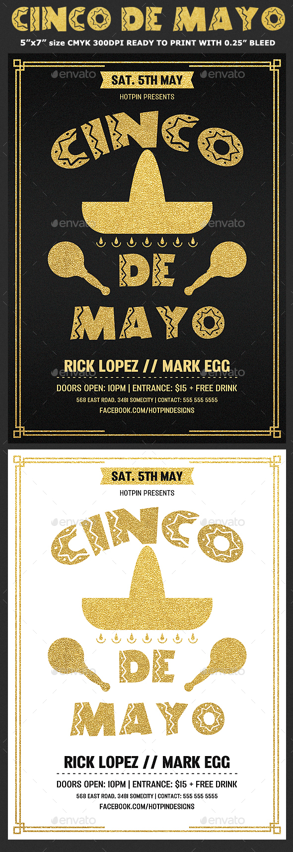Gold Cinco De Mayo Flyer Template - Clubs & Parties Events