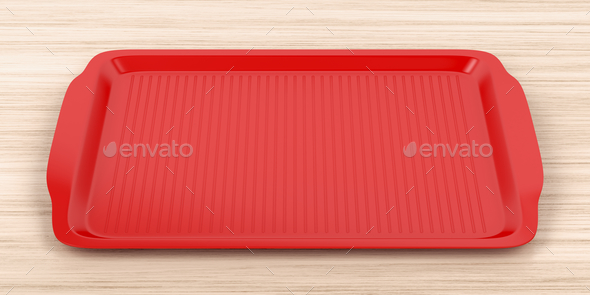 Cafeteria tray on wood table - Stock Photo - Images