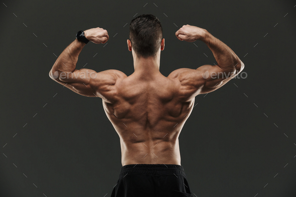Back view of a muscular bodybuilder flexing biceps - Stock Photo - Images