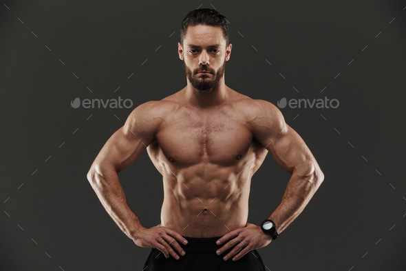 Portrait of a concentrated muscular bodybuilder - Stock Photo - Images