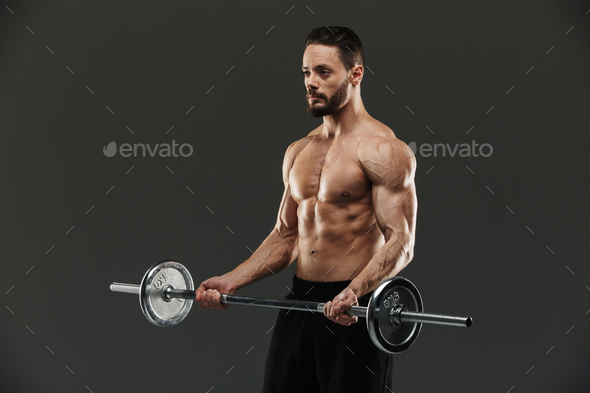 Portrait of a motivated muscular bodybuilder - Stock Photo - Images