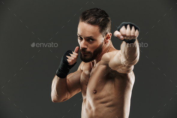 Portrait of a focused muscular sportsman boxing - Stock Photo - Images