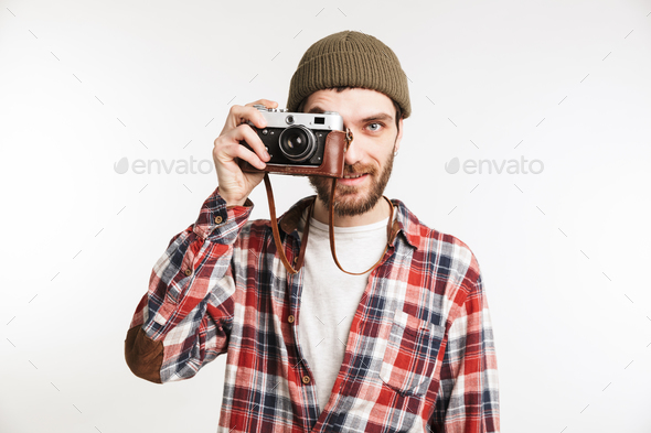 Portrait of a handsome young man tourist - Stock Photo - Images