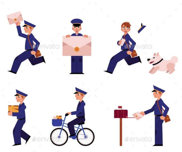 Vector Cartoon Postman Mailman Character Set - People Characters