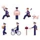 Vector Cartoon Postman Mailman Character Set
