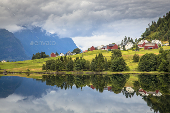 Nordic village in Norwegian fjord - Stock Photo - Images