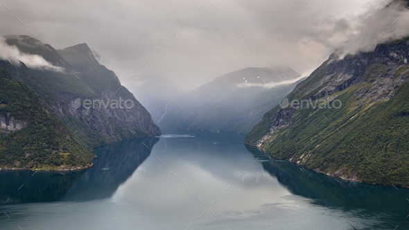 Geiranger fjord seen from Hellesylt side - Stock Photo - Images