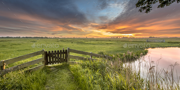 Panorama  view of gate in agricultural landscape - Stock Photo - Images
