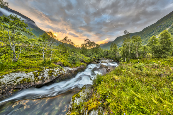 Sunset over small river through birch forest in Norway - Stock Photo - Images
