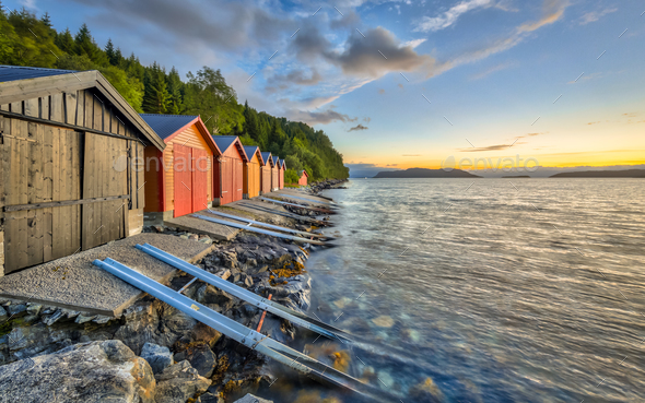 Colorful Boathouses in Norway - Stock Photo - Images