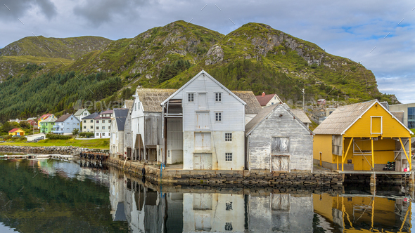 Old wooden Warehouses in Runde island harbour - Stock Photo - Images