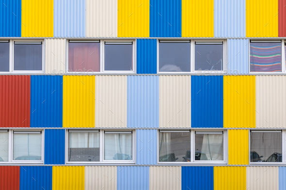 Windows of Student housing in shipping containers - Stock Photo - Images